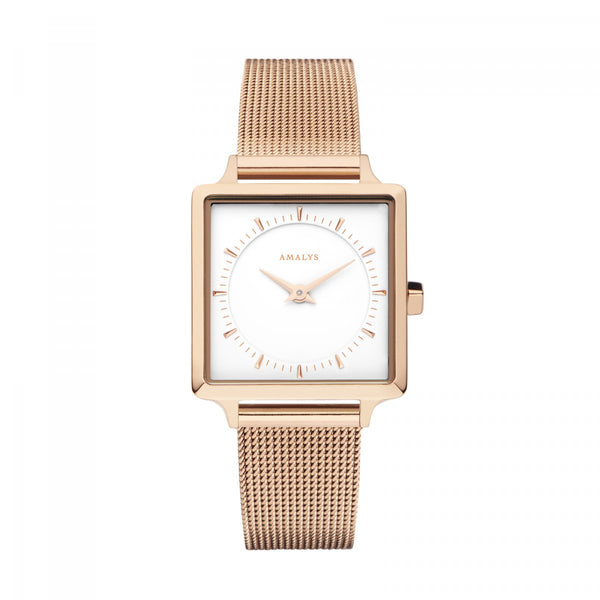 Amalys-Joy White/Rose Gold/Rose Gold Mesh/25mm-Watch-AMW-001-THE UNIT STORE