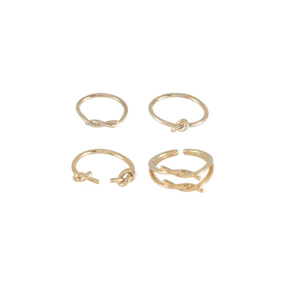 Wanderlust + Co-Knot Stack Gold Rings-Jewellery-W-R498G-THE UNIT STORE