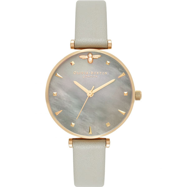 OLIVIA BURTON Queen Bee Grey Mother of Pearl Grey & Gold OB16AM154