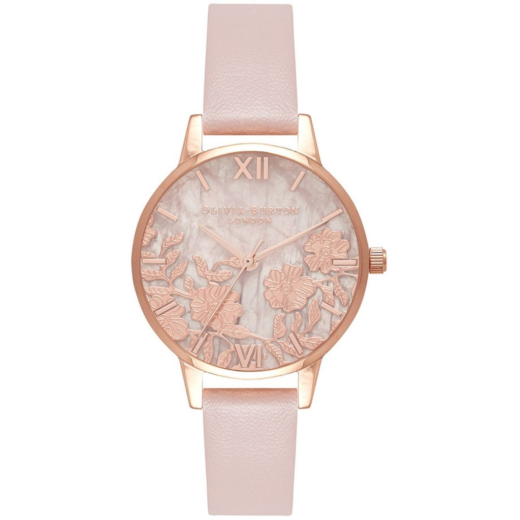 OLIVIA BURTON-Lace Detail Rose Quartz Vegan Rose Sand & RG-Watch-OB16MV84-THE UNIT STORE