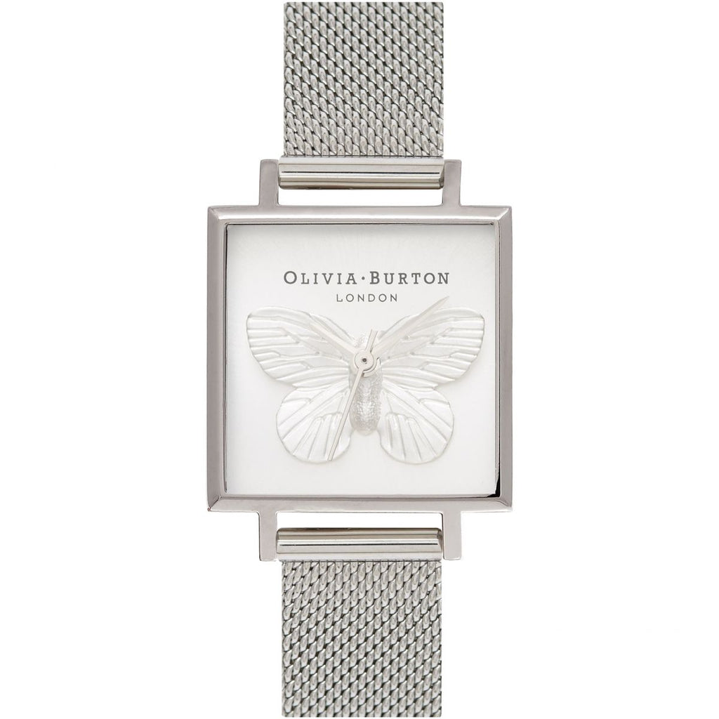 OLIVIA BURTON-3D Butterfly Silver Mesh-Watch-OB16MB15-THE UNIT STORE