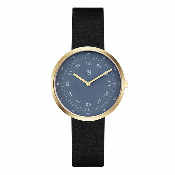 Maven Mustang Blue/Gold/Black Leather/34mm WU MV1001LGPBLBK