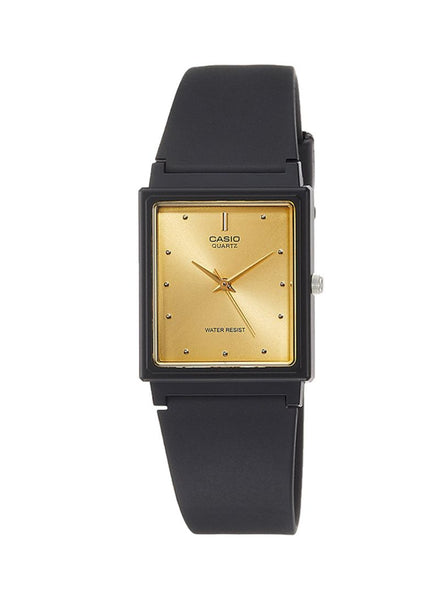 Analog - Men'S / Gold Dial Black Square / Black Band