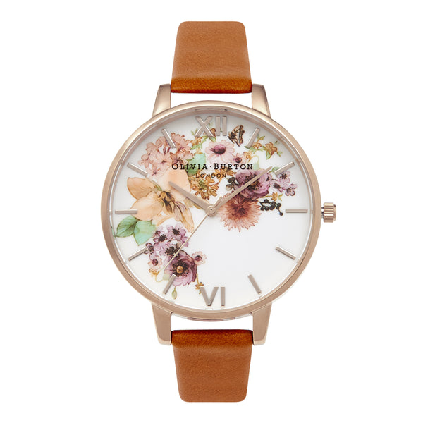 OLIVIA BURTON-Flower Show Watercolor & Gold Tan-Watch-OB14FS02-THE UNIT STORE
