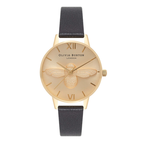 OLIVIA BURTON-Animal Motif Midi Moulded Bee Black & Gold-Watch-OB15AM70-THE UNIT STORE