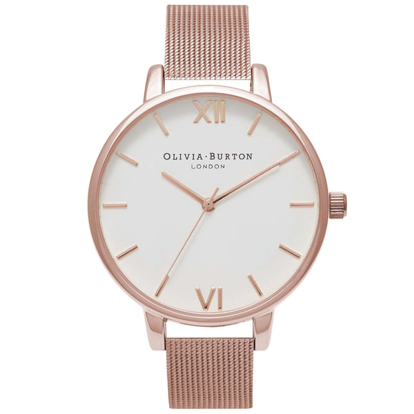 White Dial Mesh Rose Gold Mesh
