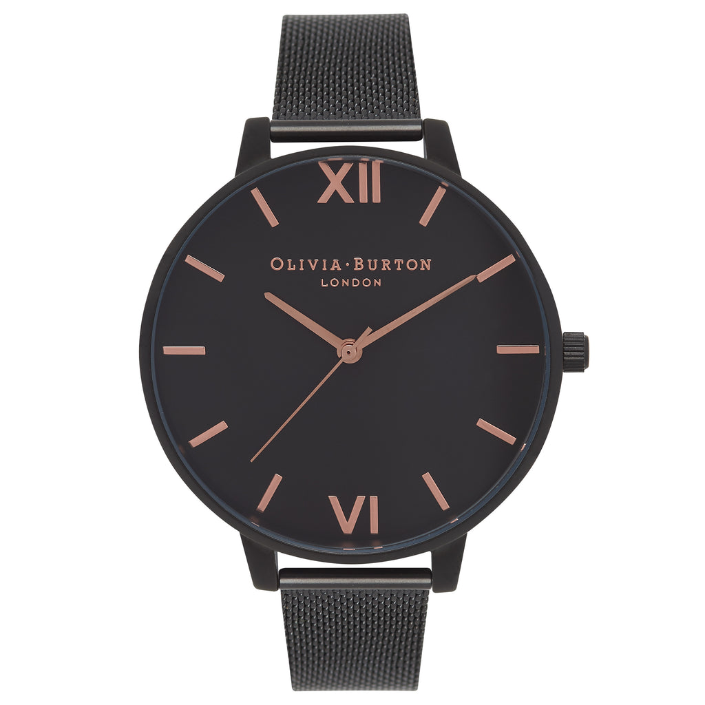 OLIVIA BURTON-After Dark Black Mesh & Rose Gold Details-Watch-OB15BD83-THE UNIT STORE