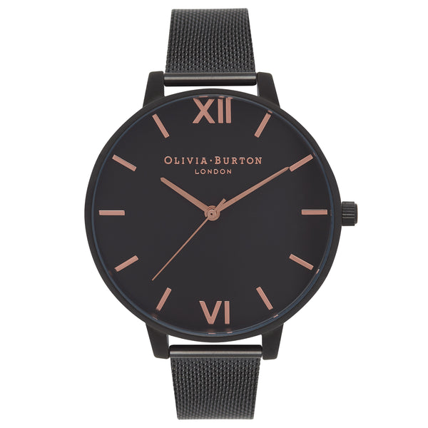 OLIVIA BURTON After Dark Black Mesh & Rose Gold Details OB15BD83