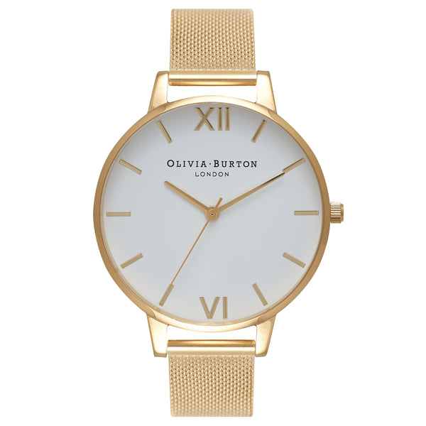 OLIVIA BURTON-White Dial Mesh Gold Mesh-Watch-OB15BD84-THE UNIT STORE