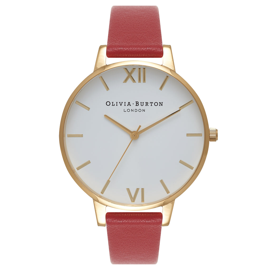 OLIVIA BURTON-White Dial Big Dial Red & Gold-Watch-OB15BDW01-THE UNIT STORE