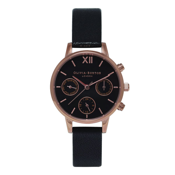 Midi Dial Chrono Black Dial & Rose Gold