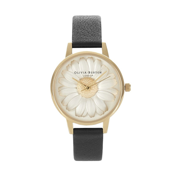 OLIVIA BURTON-Flower Show 3D Daisy Black & Gold-Watch-OB15EG38-THE UNIT STORE