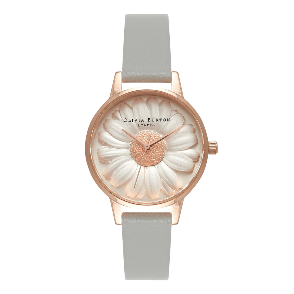 OLIVIA BURTON-Flower Show Moulded Daisy Grey & Rose Gold-Watch-OB15EG50-THE UNIT STORE