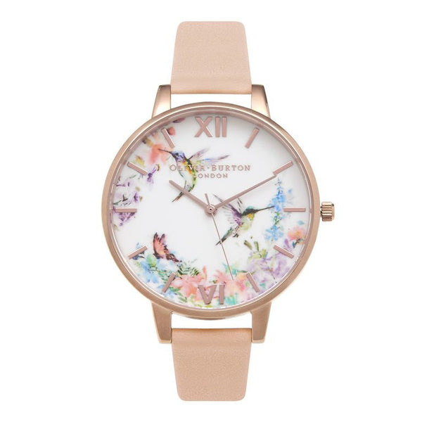 OLIVIA BURTON-Painterly Prints Hummingbird Peach & Rose Gold-Watch-OB15PP12-THE UNIT STORE