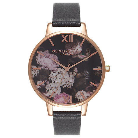 OLIVIA BURTON-Winter Garden Black & Rose Gold-Watch-OB15WG12-THE UNIT STORE