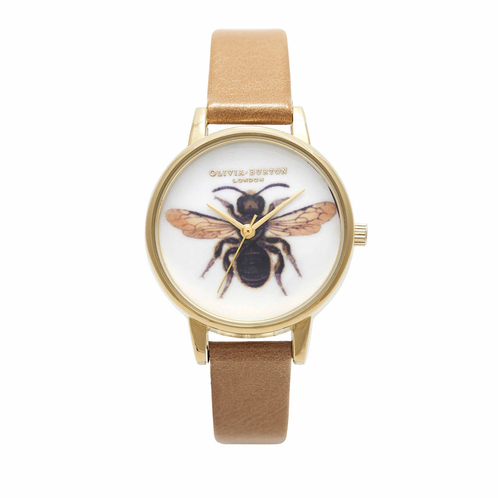 OLIVIA BURTON-Woodland Bee Camel & Gold-Watch-OB15WL45-THE UNIT STORE