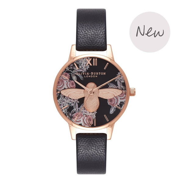 OLIVIA BURTON-Animal Motif Black & Rose Gold Floral-Watch-OB16AM100-THE UNIT STORE