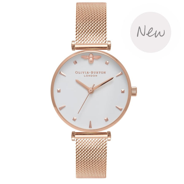 OLIVIA BURTON-Queen Bee Queen Bee Midi Dial Rose Gold Mesh-Watch-OB16AM105-THE UNIT STORE
