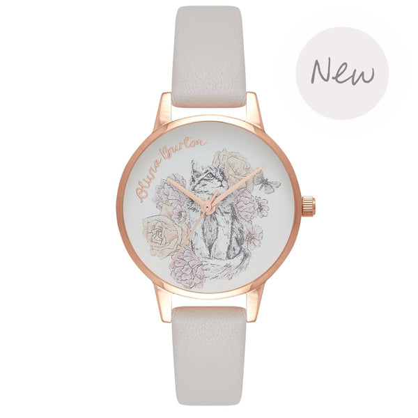 OLIVIA BURTON-Animal Motif Grey Lilac & Rose Gold-Watch-OB16AM120-THE UNIT STORE