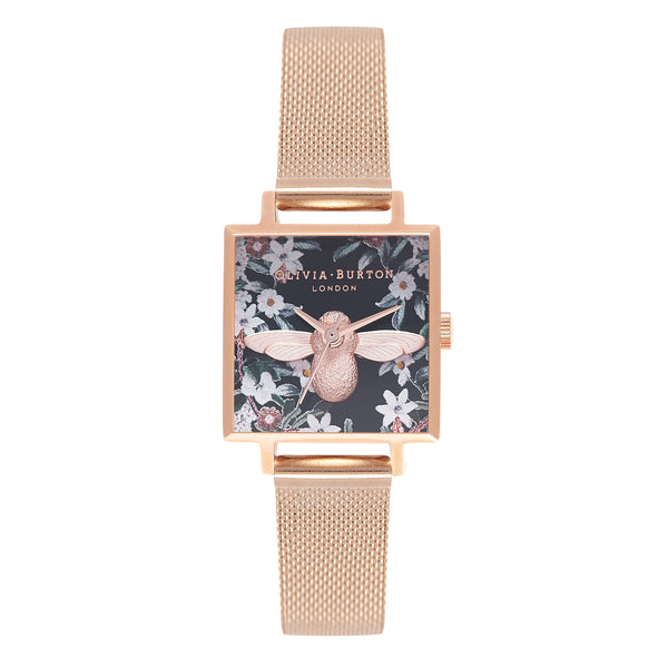 OLIVIA BURTON Bejewelled Florals Rose Gold Mesh OB16AM134