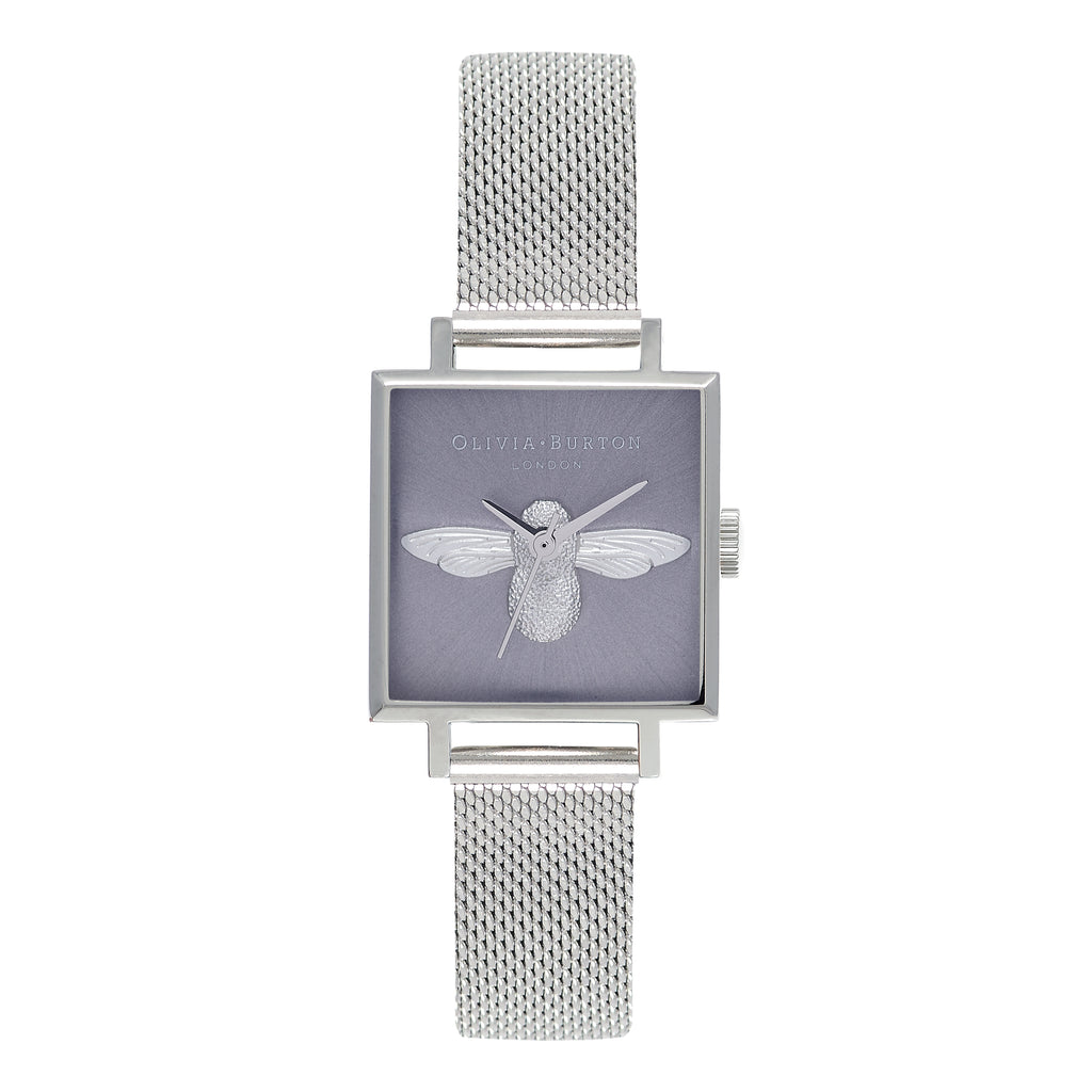 OLIVIA BURTON-3D Bee Lilac Sunray Dial & Silver Mesh-Watch-OB16AM136-THE UNIT STORE