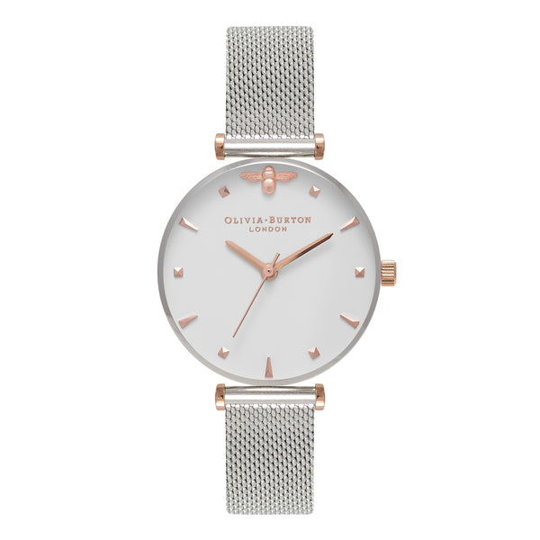 OLIVIA BURTON-Queen Bee Silver & Rose Gold Mesh-Watch-OB16AM140-THE UNIT STORE