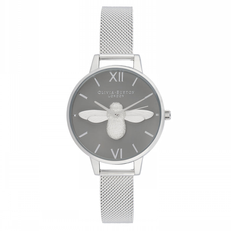 OLIVIA BURTON-3D Bee Demi Grey Dial Silver Mesh-Watch-OB16AM159-THE UNIT STORE