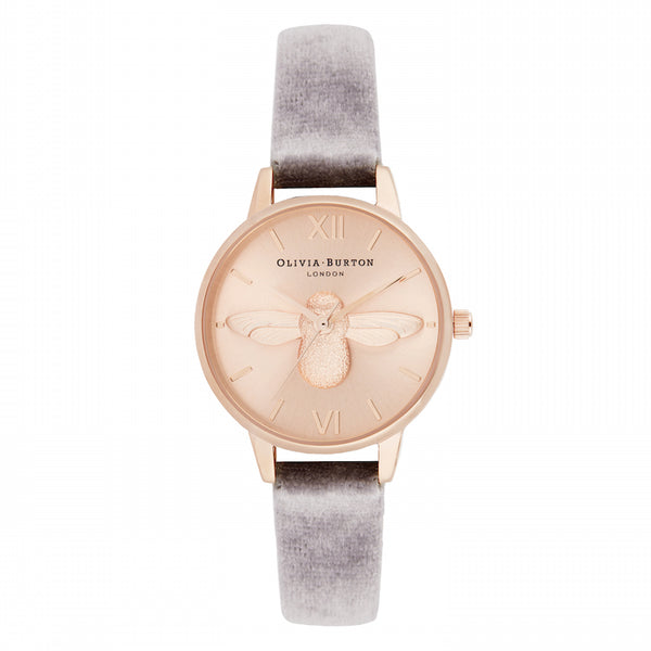 OLIVIA BURTON-3D Bee Grey Lilac Velvet & Rose Gold Sunray-Watch-OB16AM160-THE UNIT STORE