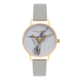 Animal Motif Hummingbird Grey & Gold