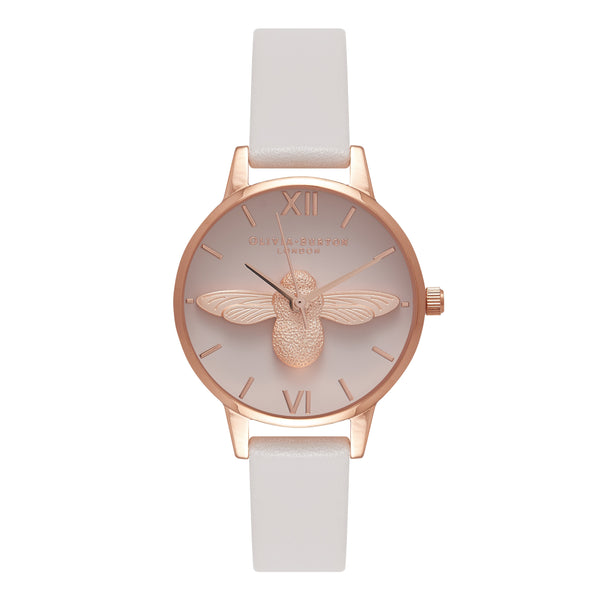 OLIVIA BURTON-Go For Greige Moulded Bee Blush & Rose Gold-Watch-OB16AM85-THE UNIT STORE
