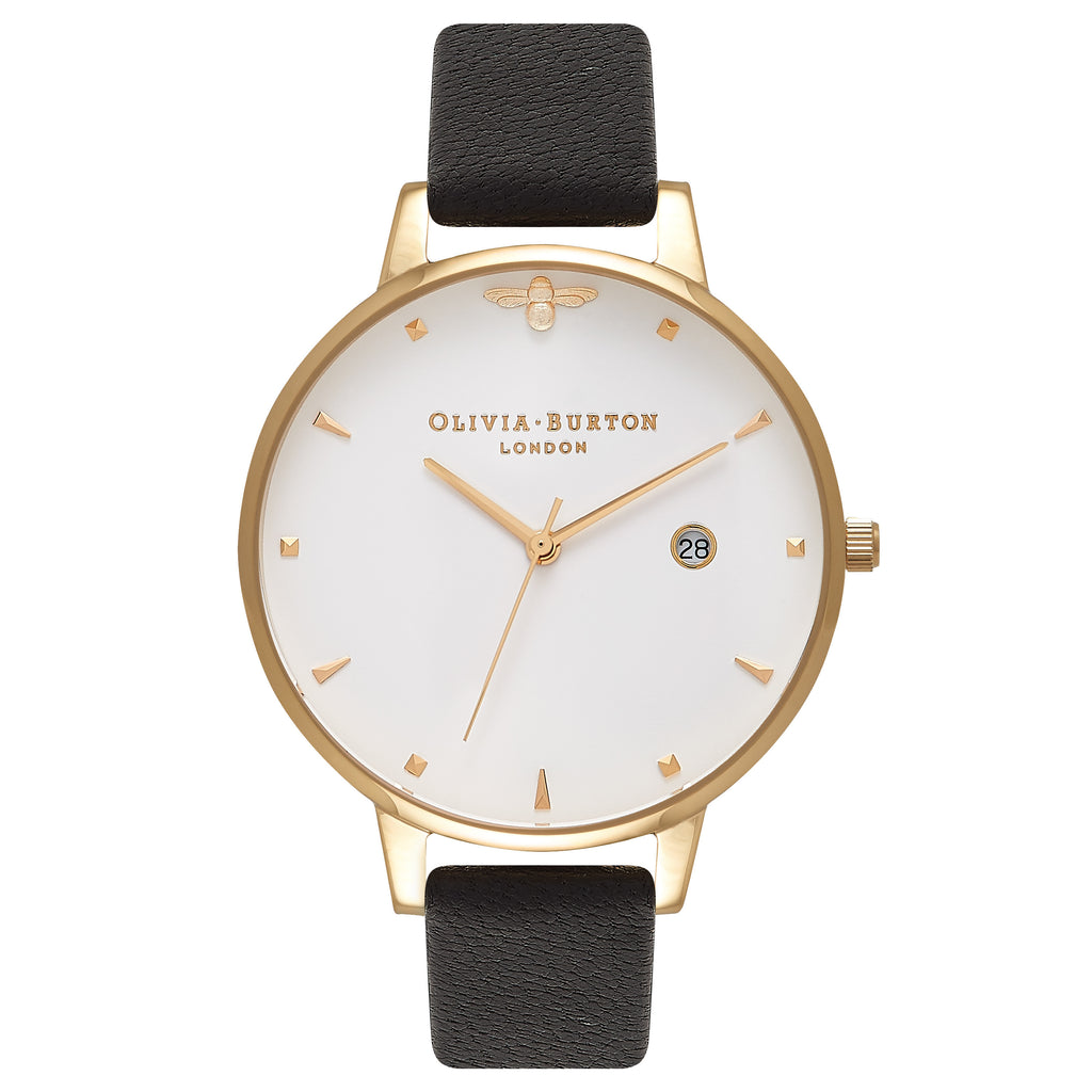 OLIVIA BURTON-Queen Bee Mini Moulded Bee Detail Black & Gold-Watch-OB16AM86-THE UNIT STORE