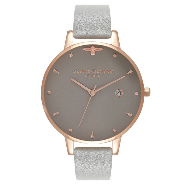 OLIVIA BURTON-Queen Bee Mini Moulded Bee Detail Grey & Rg-Watch-OB16AM87-THE UNIT STORE