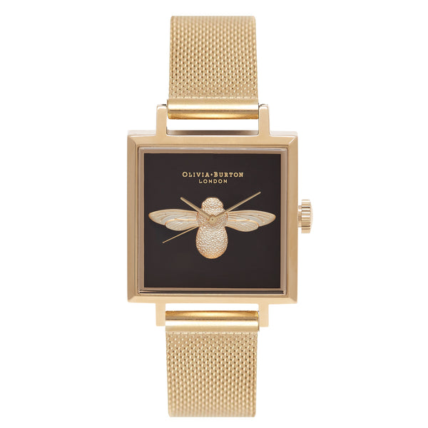 OLIVIA BURTON-Animal Motif Black Square Dial & Gold Mesh-Watch-OB16AM90-THE UNIT STORE