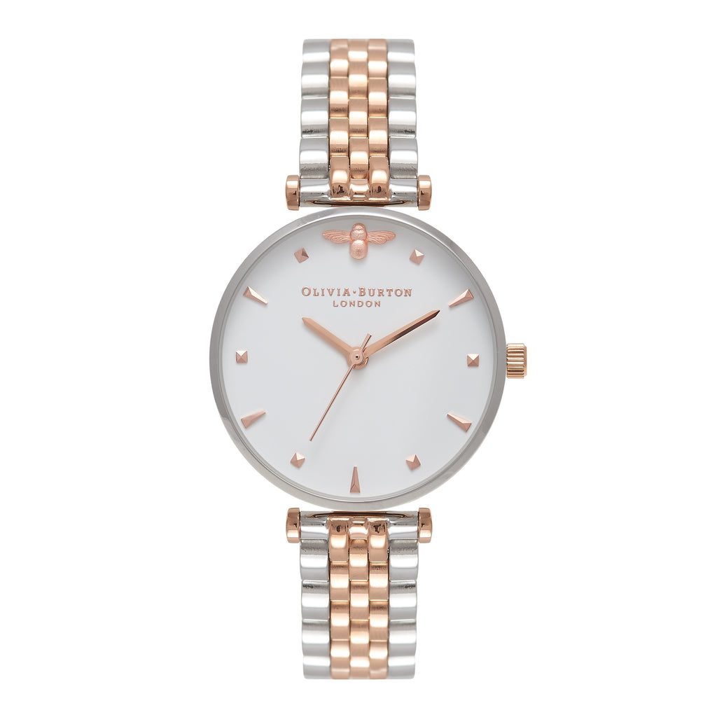 OLIVIA BURTON-Queen Bee Mini Moulded Bee Silver & RG Mix-Watch-OB16AM93-THE UNIT STORE