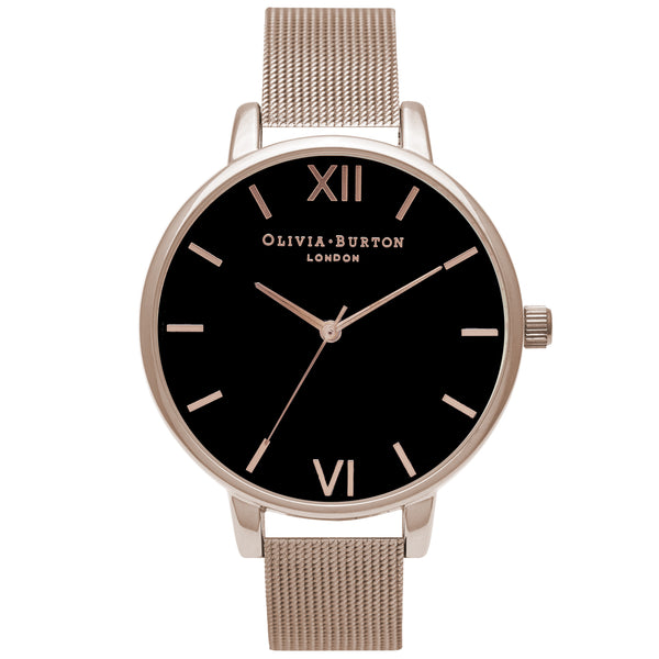 OLIVIA BURTON-Black Dial Black Dial & Rose Gold Mesh-Watch-OB16BD89-THE UNIT STORE