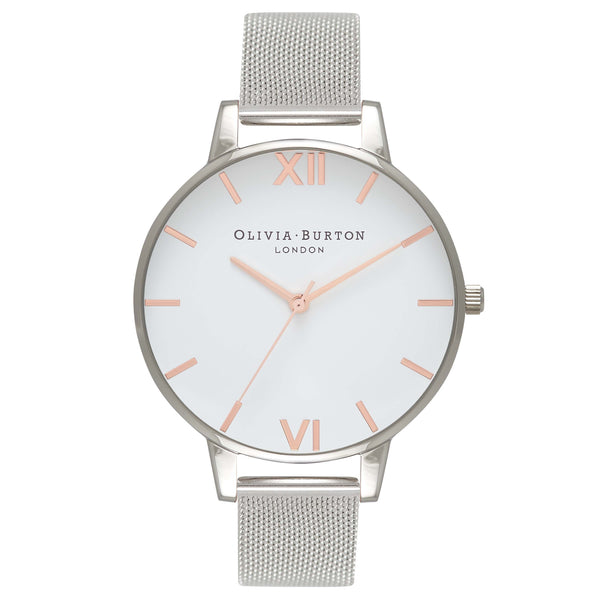 OLIVIA BURTON-White Dial Mesh Rose Gold & Silver Mesh-Watch-OB16BD97-THE UNIT STORE