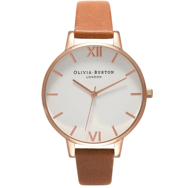 OLIVIA BURTON-White Dial Big Dial Tan & Rose Gold-Watch-OB16BDW19-THE UNIT STORE