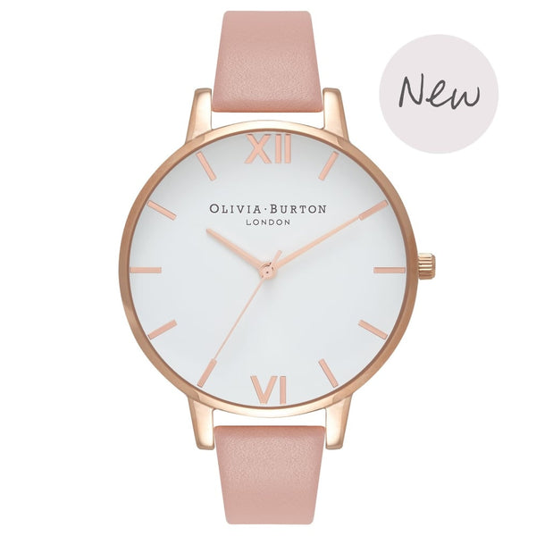 OLIVIA BURTON White Dial Big Dial Dusty Pink & Rose Gold OB16BDW25