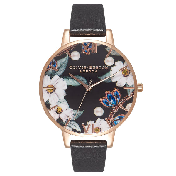 OLIVIA BURTON-Bejewelled Florals Black & Rose Gold-Watch-OB16BF04-THE UNIT STORE
