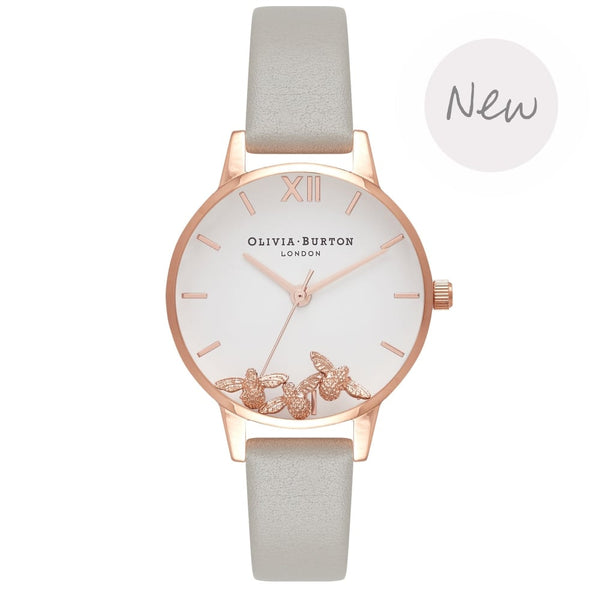 OLIVIA BURTON-Animal Motif Buzzing Bee Grey & Rose Gold-Watch-OB16CH03-THE UNIT STORE