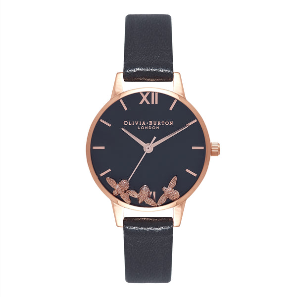 OLIVIA BURTON-Busy Bees Black & Rose Gold-Watch-OB16CH06-THE UNIT STORE