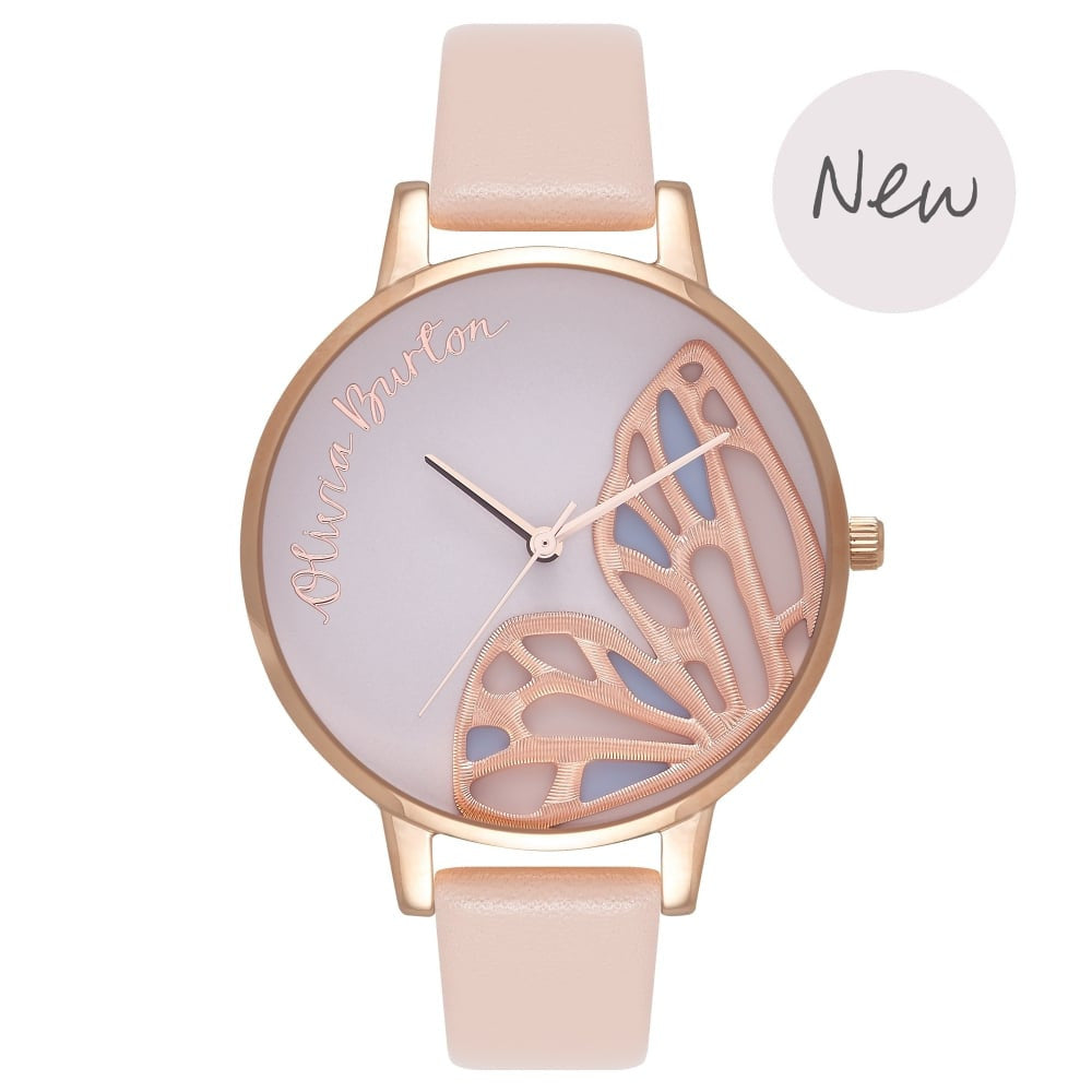 OLIVIA BURTON-Embroidered Butterfly Nude Peach & Rose Gold-Watch-OB16EB01-THE UNIT STORE