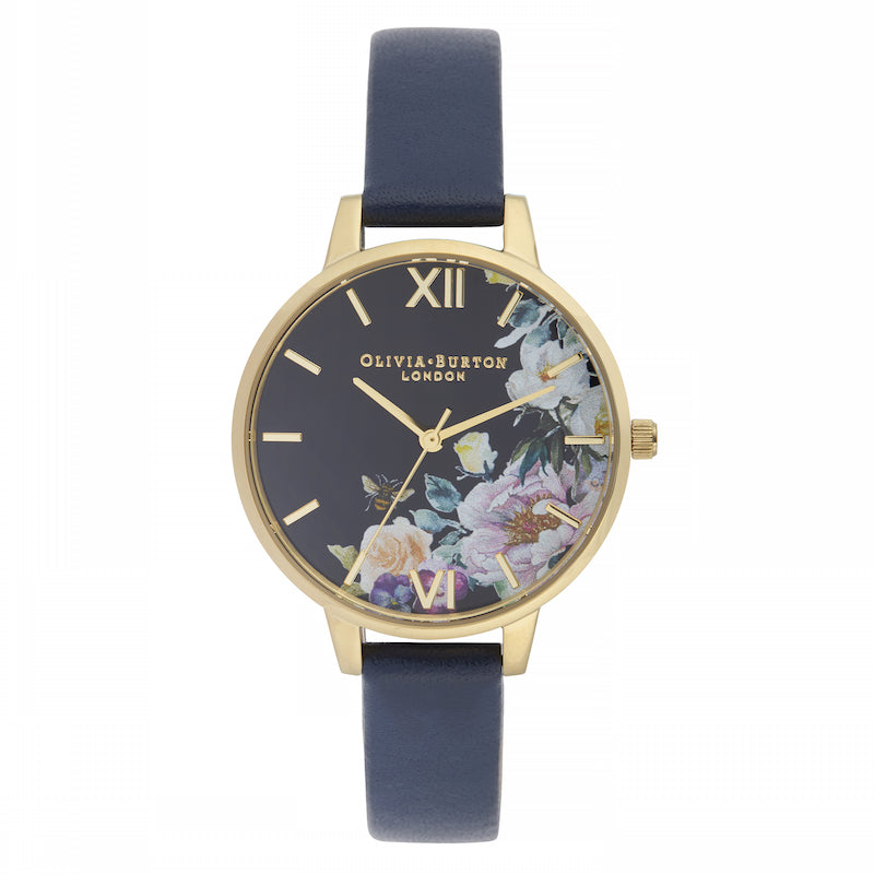 OLIVIA BURTON-Enchanted Garden Midnight Sunray, Navy & Gold-Watch-OB16EG113-THE UNIT STORE