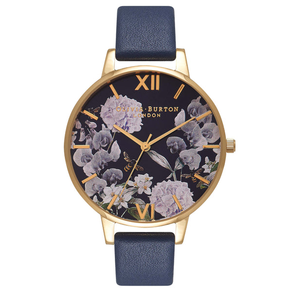 OLIVIA BURTON Navy Meets Dusty Pink Midnight Floral & Gold OB16EG55
