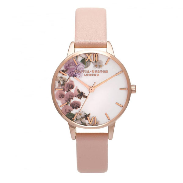 OLIVIA BURTON-Navy Meets Dusty Pink Midi D. Pink & RG Floral-Watch-OB16EG56-THE UNIT STORE