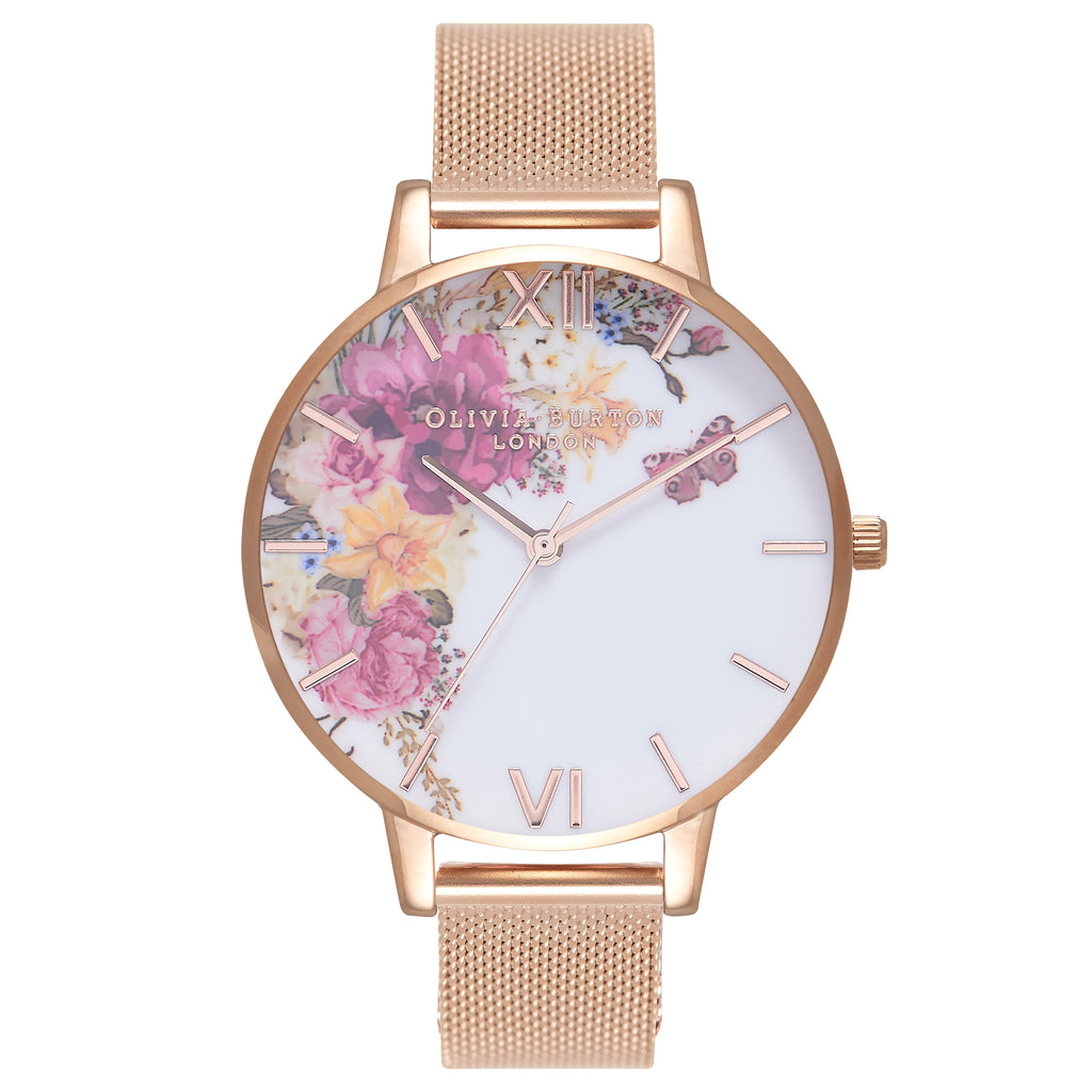 OLIVIA BURTON-Enchanted Garden Rose Gold Mesh-Watch-OB16EG82-THE UNIT STORE