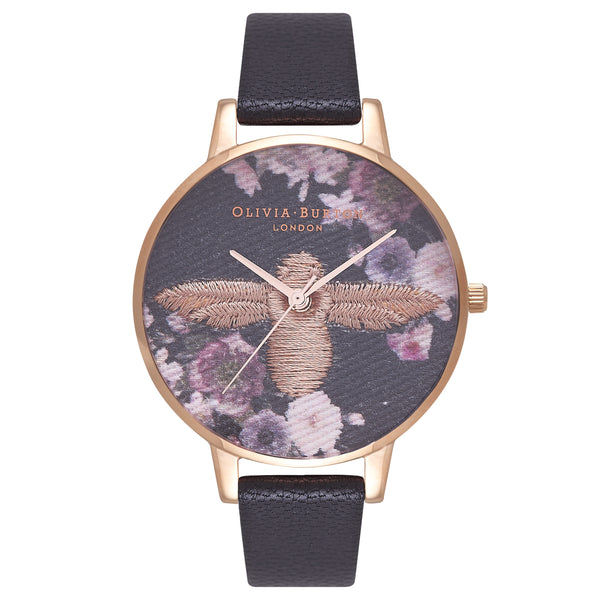 OLIVIA BURTON-Embroidered Dial Black & Rose Gold-Watch-OB16EM02-THE UNIT STORE
