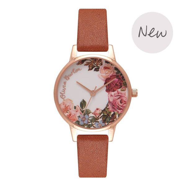 OLIVIA BURTON-Flower Show Tan & Rose Gold-Watch-OB16ER05-THE UNIT STORE