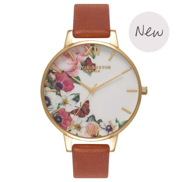 OLIVIA BURTON-Flower Show Tan & Gold-Watch-OB16ER07-THE UNIT STORE