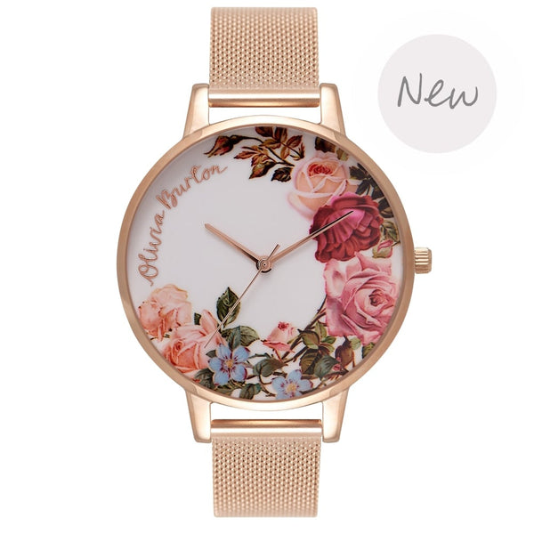 OLIVIA BURTON-Flower Show Rose Gold Mesh-Watch-OB16ER10-THE UNIT STORE